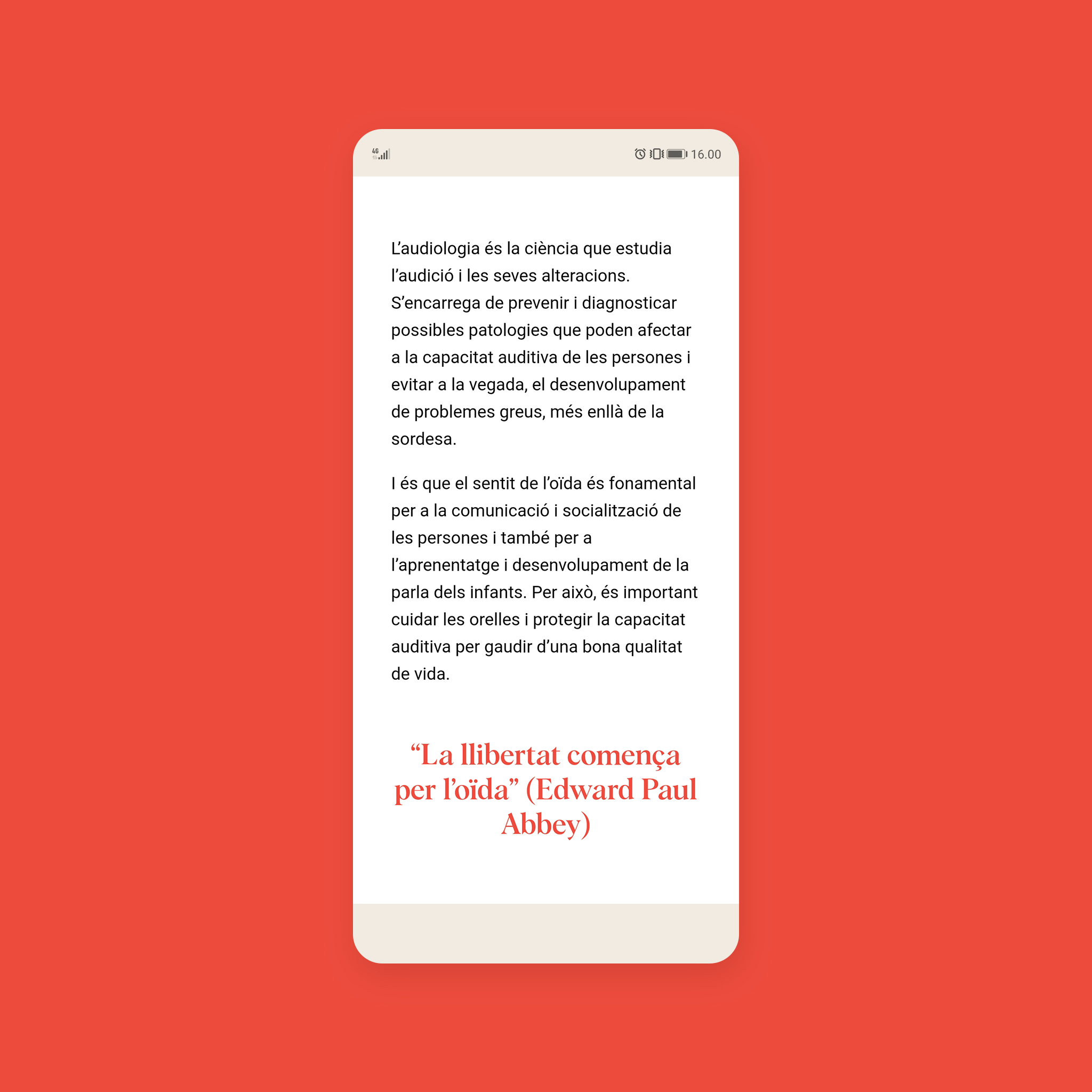 Apartat Audiologia 2 de la web d'Òptica Rodrigo en la versió movil